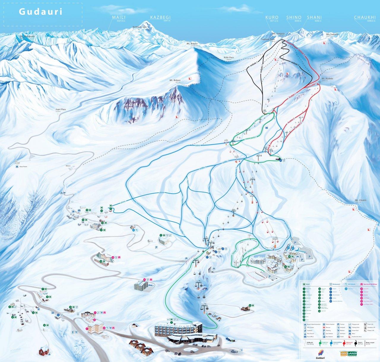 Карта склонов «Гудаури». Фото: gudauri.ru