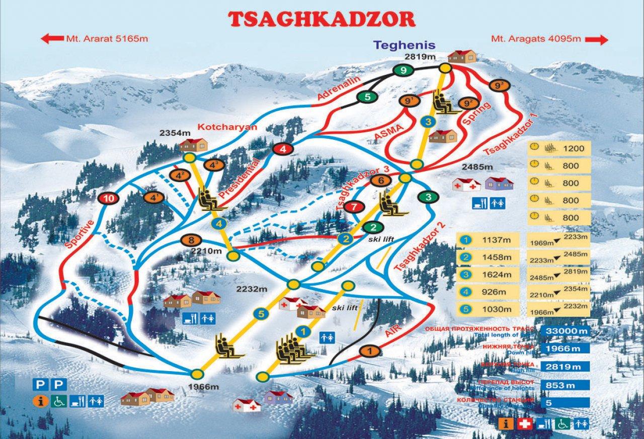 Карта склонов «Цахкадзора». Фото: ropeway.am