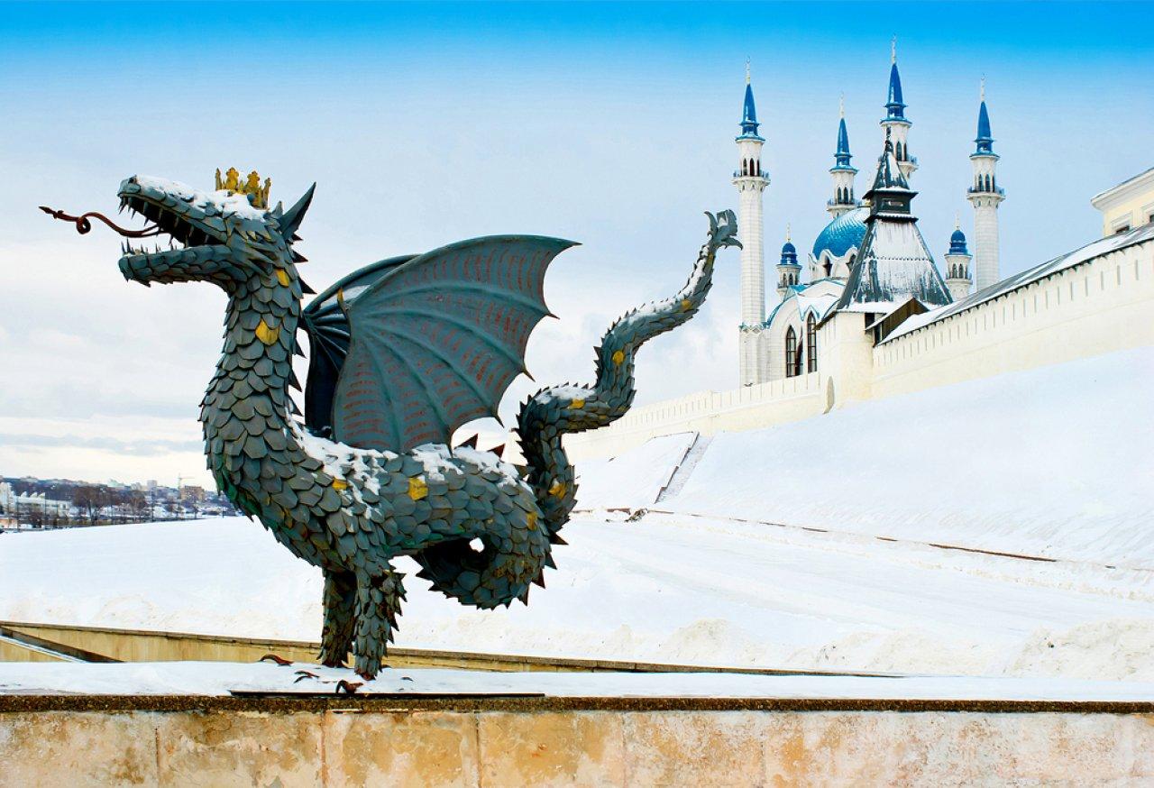 Мифологический Зилант — символ Казани. Фото: Uriy / Shutterstock