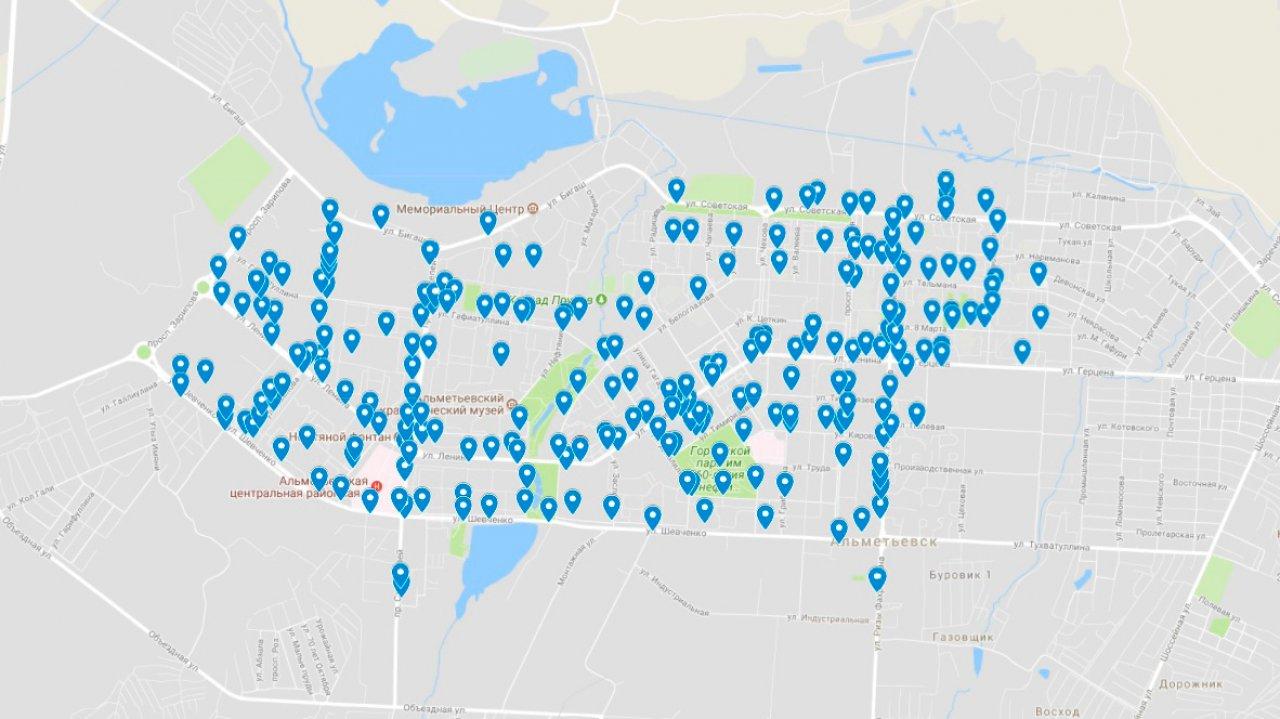 Карта велопарковок в Альметьевске